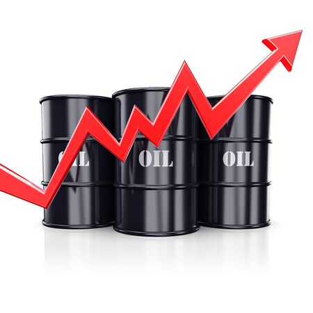upgrowth: Red arrow graph chart moving rise up near the barrels with oil. 3d illustration Stock Photo