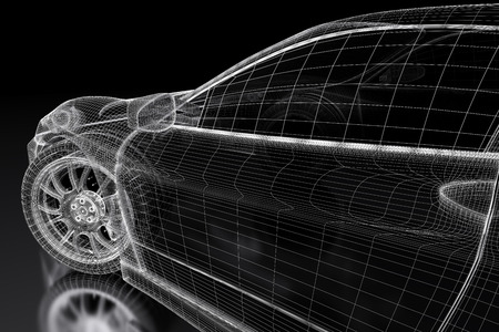 cars: Car vehicle 3d blueprint model on a black background. 3d rendered image