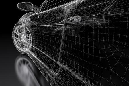 transportation: Car vehicle 3d blueprint model on a black background. 3d rendered image