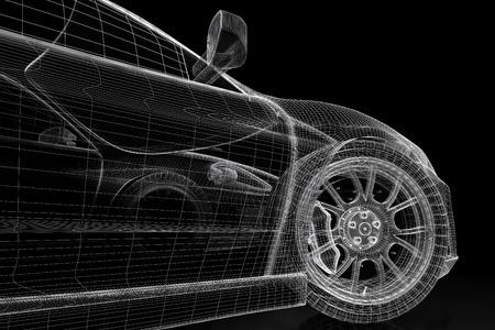 models: Car vehicle 3d blueprint model on a black background. 3d rendered image