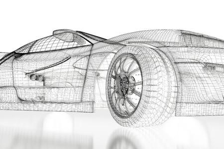Veicolo Car Modello progetto 3D su uno sfondo bianco. Immagine di rendering 3D
