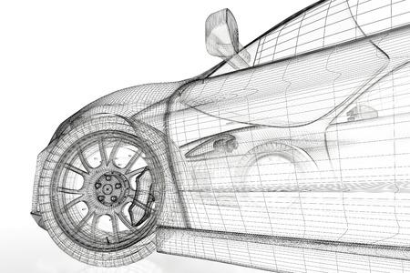 Auto voertuig 3d blauwdruk model op een witte achtergrond. 3D-beeld gemaakt