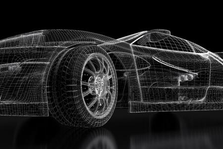 Car vehicle 3d blueprint model on a black background. 3d rendered image