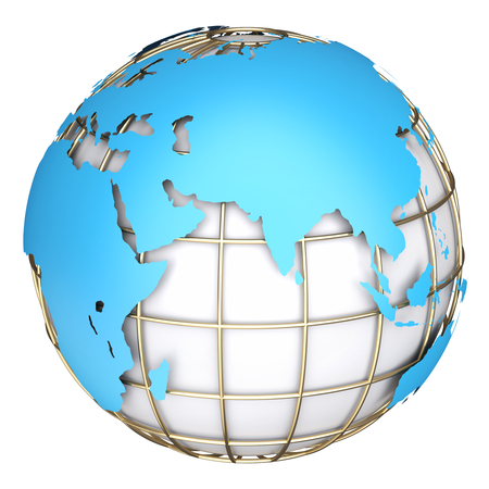 Earth globe map side of africa and europe 3d image stock photo earth world maprica europe and azia on a planet globe 3d illustration gumiabroncs Image collections