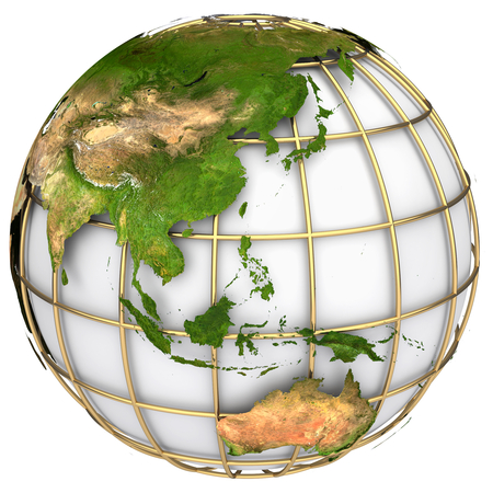 north china: Earth world map.Australia and Asia on a planet globe. The Earth texture of this image furnished by NASA Stock Photo