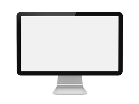 Computer wide monitor with a blank screen. Isolated on a white. 3d image