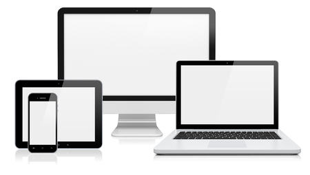 blank tablet: Computer monitor, laptop, tablet pc,  and mobile smartphone with a blank screen. Isolated on a white. 3d image