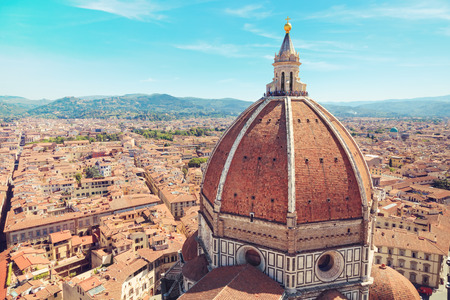 fiore: Italy, Toscana, Florence. Dome of the Cathedral of Santa Maria del Fiore in the background of the city panorama