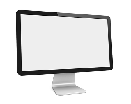 blank screen: Computer wide monitor with a blank screen. Isolated on a white. 3d image