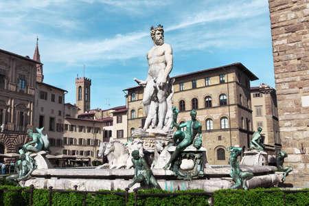 piazza: Italy, Toscana, Florence. Piazza Della Signoria. Fountain of Neptune Stock Photo