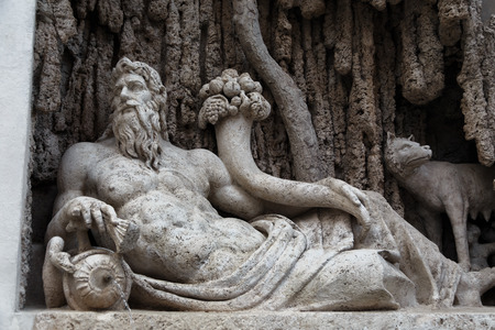 statue: Italy. Rome. Tiber River is one of the 4 fountains sculpture of group four fountains