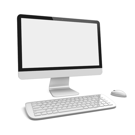 pc screen: Desktop pc computer with large wide monitor, keyboard and mouse, and a blank screen. Isolated on white. 3d rendered image