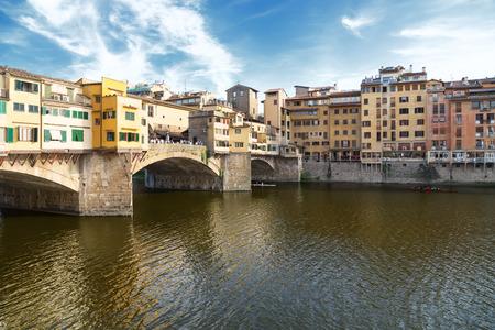 river arno: Ponte Vecchio, a famous old bridge on the river Arno