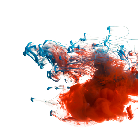 red color: Red and blue color ink paint abstract pattern in water liquid Stock Photo