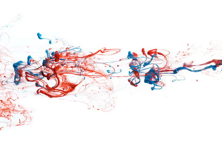 water flowing: Red and blue color ink paint abstract pattern in water liquid Stock Photo