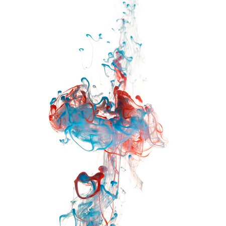 red white blue: Red and blue color ink paint abstract pattern in water liquid Stock Photo