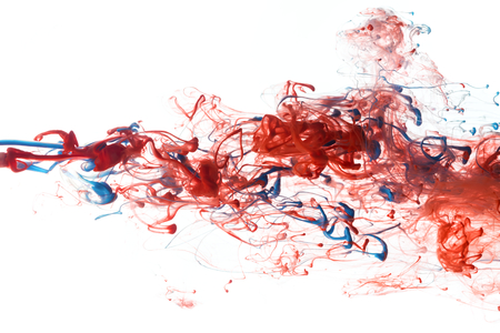 splash of water: Red, and blue color ink paint abstract pattern in water liquid Stock Photo
