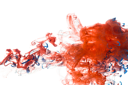 white paint: Red and blue color ink paint abstract pattern in water liquid Stock Photo