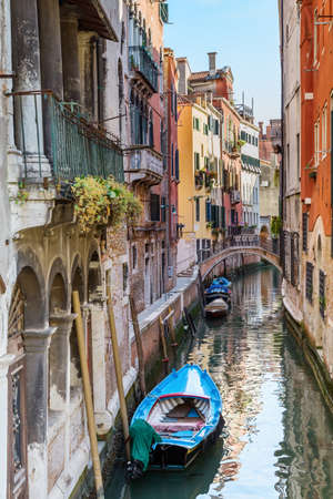 water transportation: Italy. The cityscape and architecture of Venice. Urban canal and boats on it Stock Photo