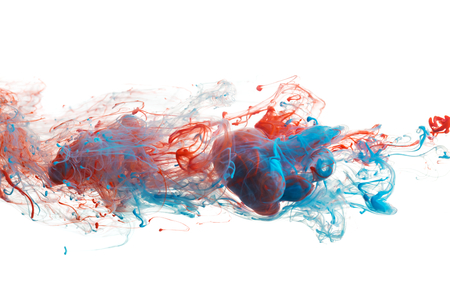 colored dye: Red and blue color ink paint abstract pattern in water liquid Stock Photo