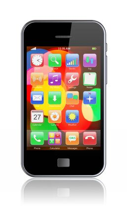 mobile apps: Mobile smartphone with colorful bokeh wallpaper and apps on a screen. 3d image