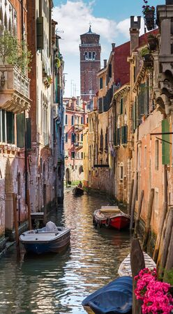 italy: Italy. The cityscape and architecture of Venice. Urban canal and boats on it Stock Photo