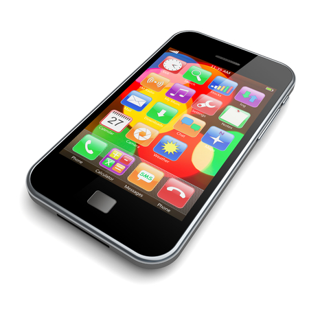 smartphone apps: Mobile smartphone with colorful bokeh wallpaper and apps on a screen. 3d image