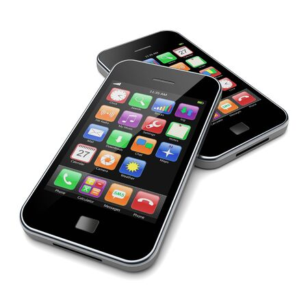 mobile apps: Mobile smartphones with black screen and colorful apps. 3d image