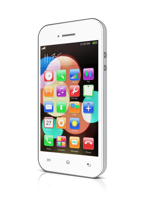 smartphone apps: White mobile smartphone with colorful bokeh wallpaper and apps on a screen. 3d image