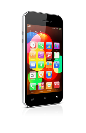 mobile apps: Mobile smart phone with colorful bokeh wallpaper and apps on a screen. 3d image