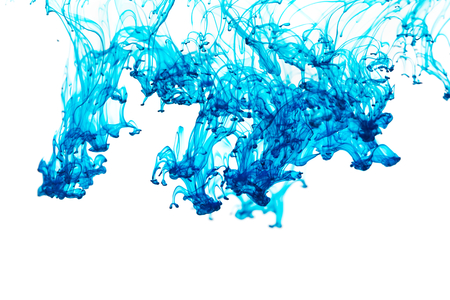 abstract paint: Blue color ink paint abstract pattern in water liquid Stock Photo