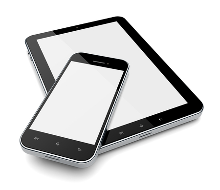 blank tablet: Tablet PC computer and mobile phone with blank screen
