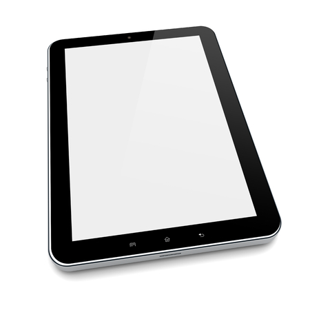 pc screen: Tablet PC computer with blank screen on a white background Stock Photo