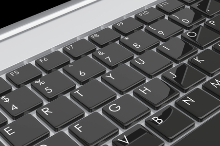 information equipment: Laptop computer keyboard. 3d image