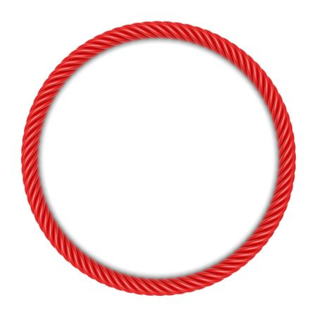 wattled: Round frame made up ??of red rope. 3d image Stock Photo
