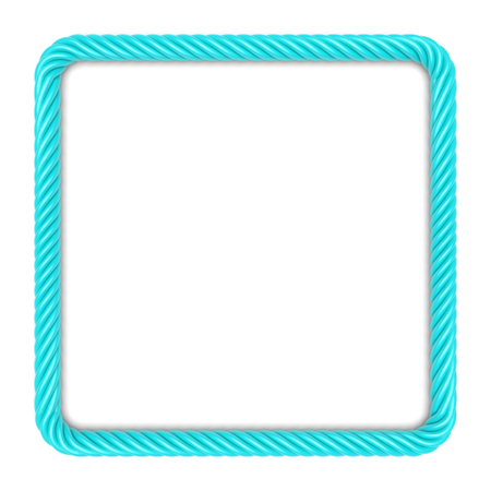 square image: Square frame made up ??of blue rope. 3d image