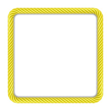 square image: Square frame made up ??of yellow rope. 3d image
