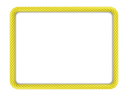 spiral cord: Rectangle frame made up ??of yellow rope. 3d image