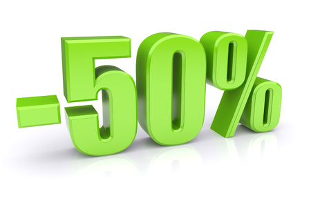 discount: 50% discount icon on a white background