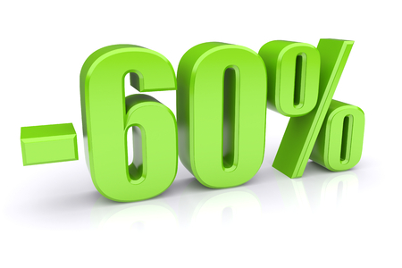 60: 60% discount icon on a white background