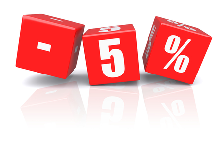 discount: 5% discount red cubes on a white background. 3d rendered image