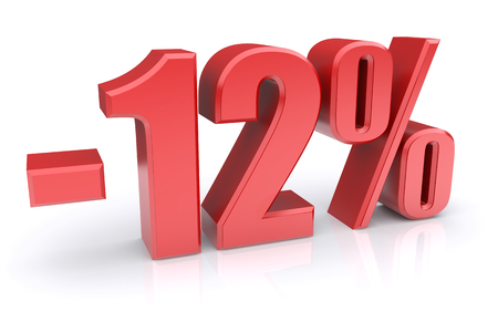 12: 12% discount icon on a white background. 3d rendered image