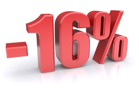 16: 16% discount icon on a white background. 3d rendered image
