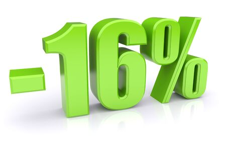 16: Green 16% discount icon on a white background. 3d rendered image Stock Photo