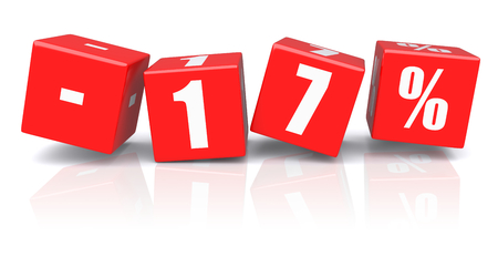 17: 17% discount red cubes on a white background. 3d rendered image