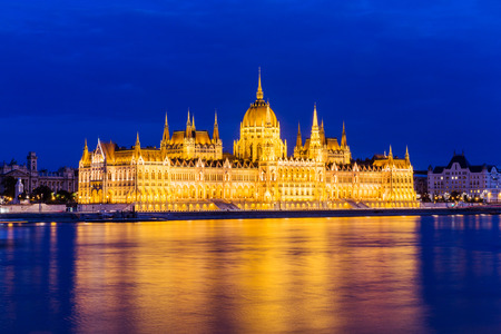 capital building: Hungary capital, Budapest.  Night view over the building of the Hungarian Parliament