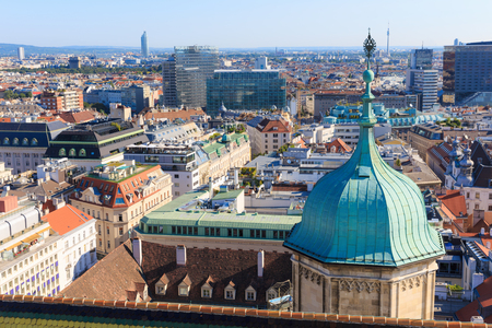 stephen: Vienna. Austria. Architecture cityscape of top view of the city. Vew from the south tower of St. Stephen Cathedral