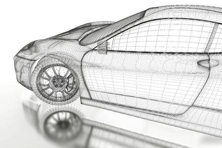 mesh: Car vehicle 3d blueprint mesh model on a white background. 3d rendered image