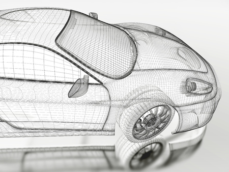 mesh: Car vehicle 3d blueprint mesh model on a white background. 3d rendered image