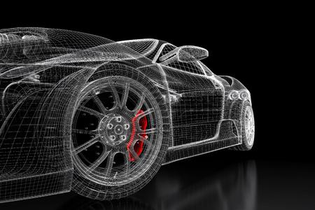 Auto voertuig 3d blauwdruk mesh model met een rode remklauw op een zwarte achtergrond. 3d teruggegeven afbeelding